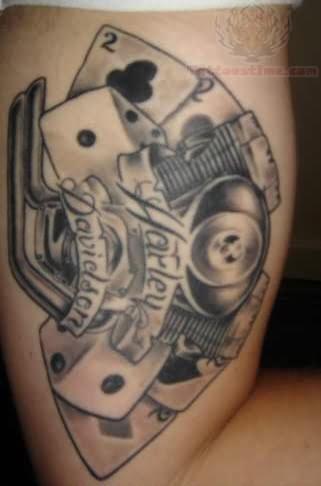 grey ink harley davidson tattoo on half sleeve for men. Black Bedroom Furniture Sets. Home Design Ideas