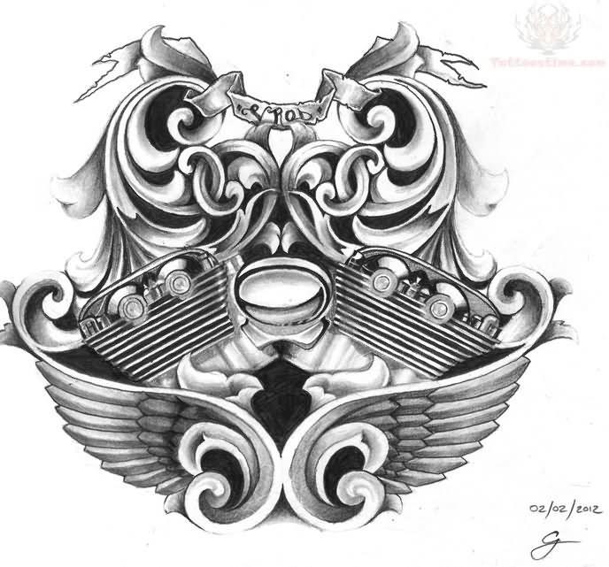 Motor Tattoo Designs Bike engine tattoo design