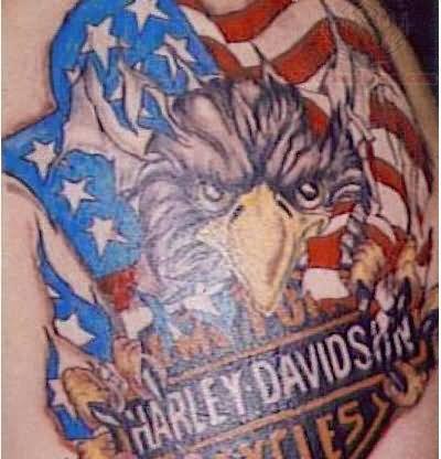 harley davidson eagle color ink tattoo. Black Bedroom Furniture Sets. Home Design Ideas