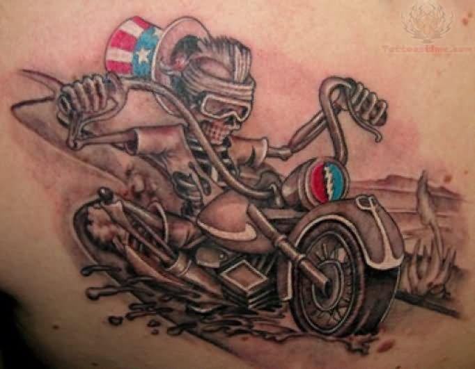 harley davidson skull ride bike tattoo. Black Bedroom Furniture Sets. Home Design Ideas