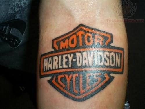 Harley Davidson Tattoo On Left Arm