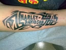 Harley Davidson Tribal Tattoo On Forearm