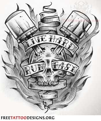 Live hard run fast harley davidson tattoo design for Ride or die tattoo designs