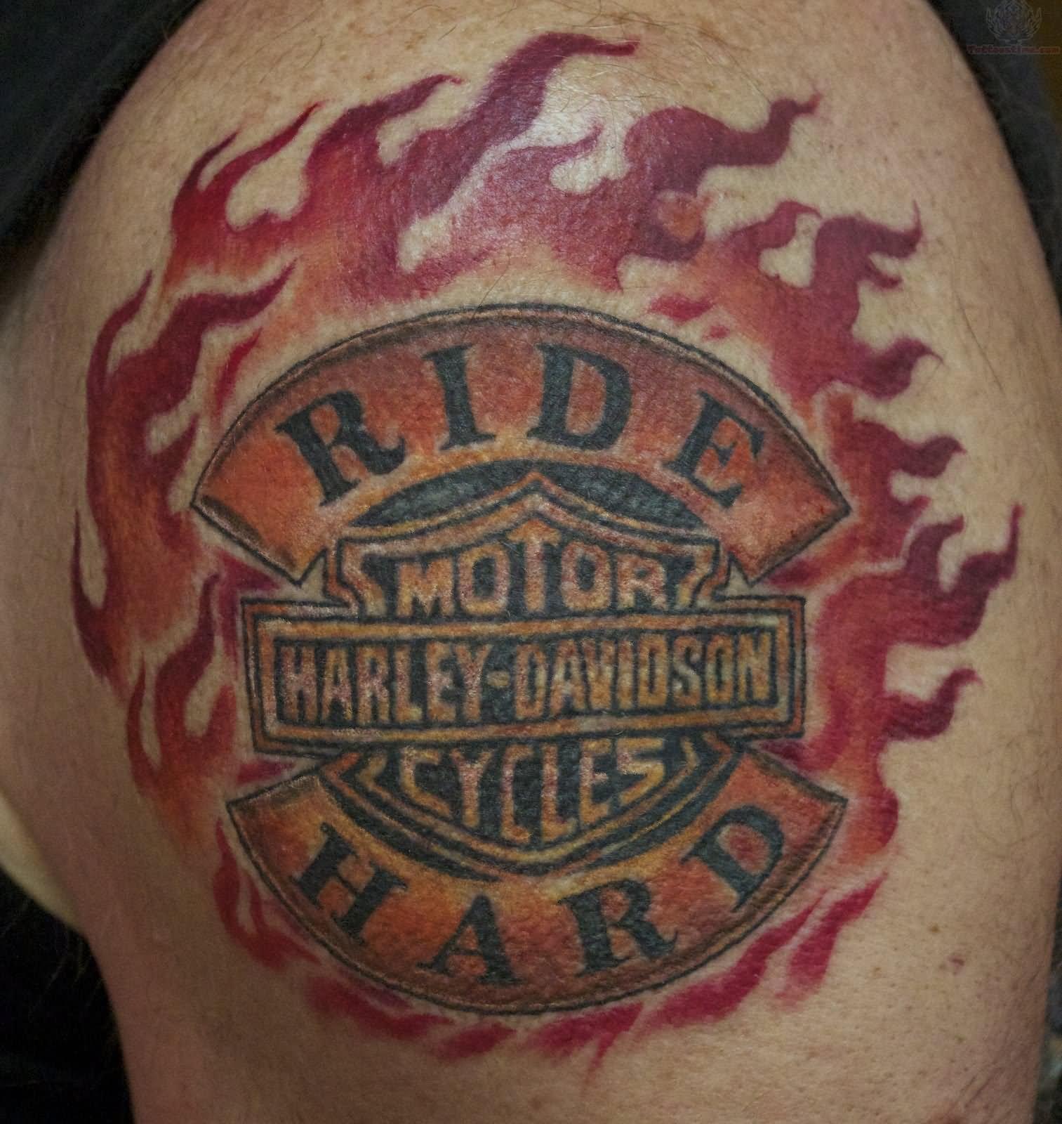 Ride Hard Harley Davidson Tattoo On Shoulder