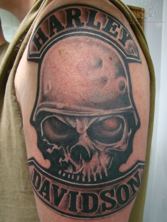 Skull and harley davidson tattoo on left shoulder for Harley skull tattoos