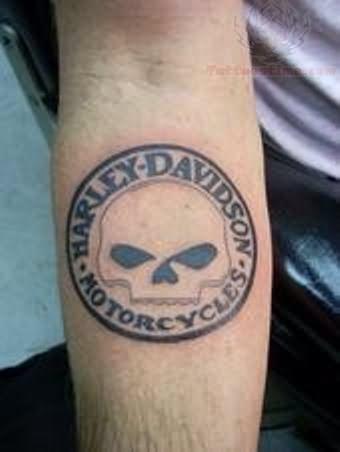 Skull harley davidson tattoo on arm for Harley skull tattoos