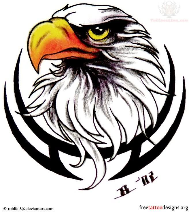 Tribal And Eagle Head Harley  Eagle Head Tattoo Drawing