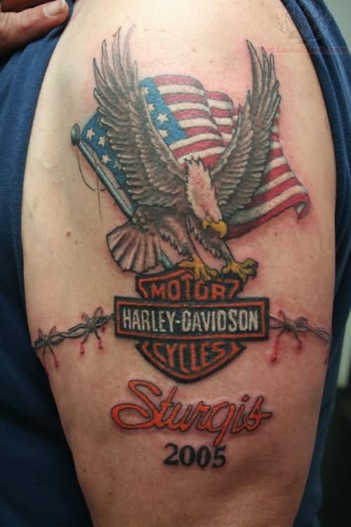 us flag and harley davidson tattoo on half sleeve. Black Bedroom Furniture Sets. Home Design Ideas