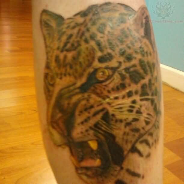 Angry Jaguar: Angry Jaguar Head Color Ink Tattoo