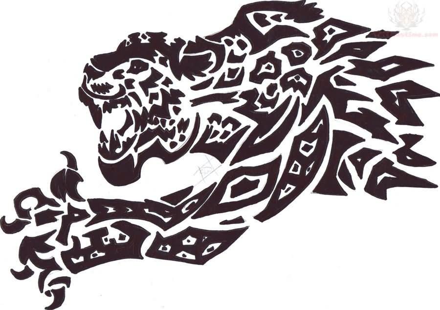 tribal jaguar designs tattoo Jaguar Right Leg Tattoo On
