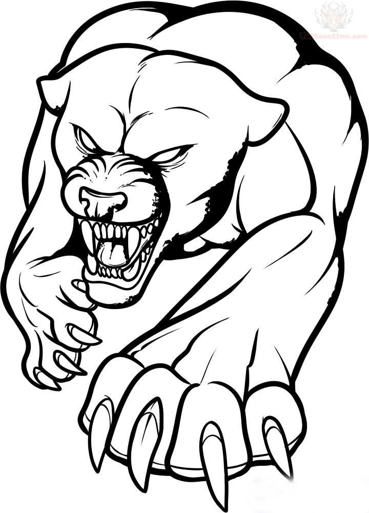 Outline Jaguar Tattoo Design