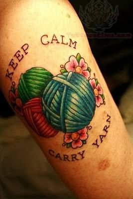 Keep Calm Carry Yarn - Kniiting Tattoo