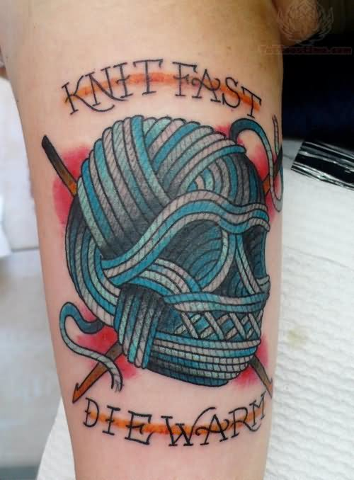 Knit Fast Die Warm - Kniiting Skull Tattoo On Half Sleeve