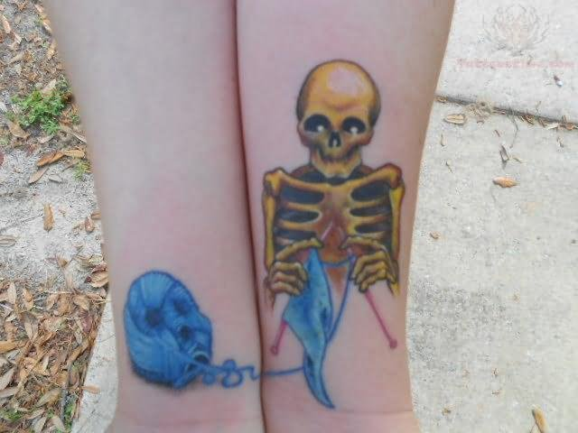 Skeleton Knitting Color Ink Tattoo