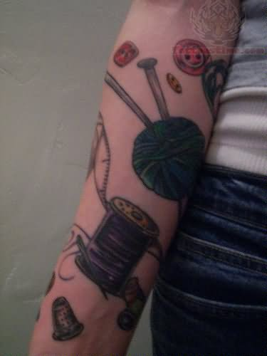 Yarn And Spool – Knitting Tattoo On Sleeve