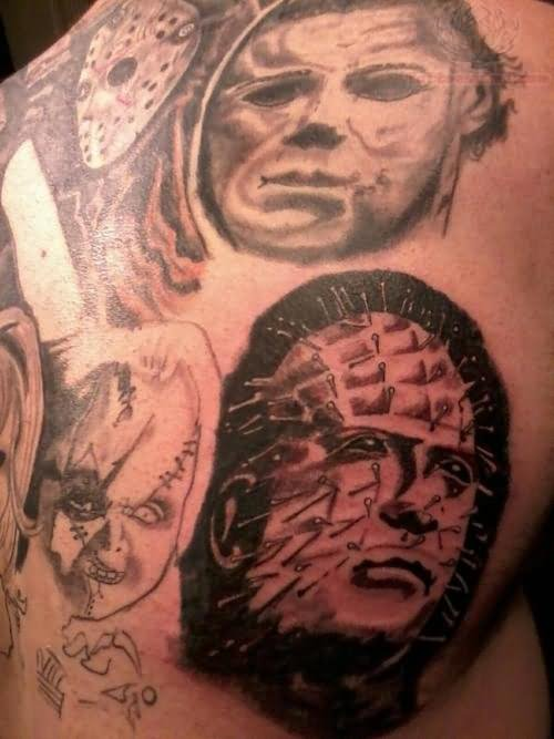 pinhead jason and chucky tattoo on back. Black Bedroom Furniture Sets. Home Design Ideas