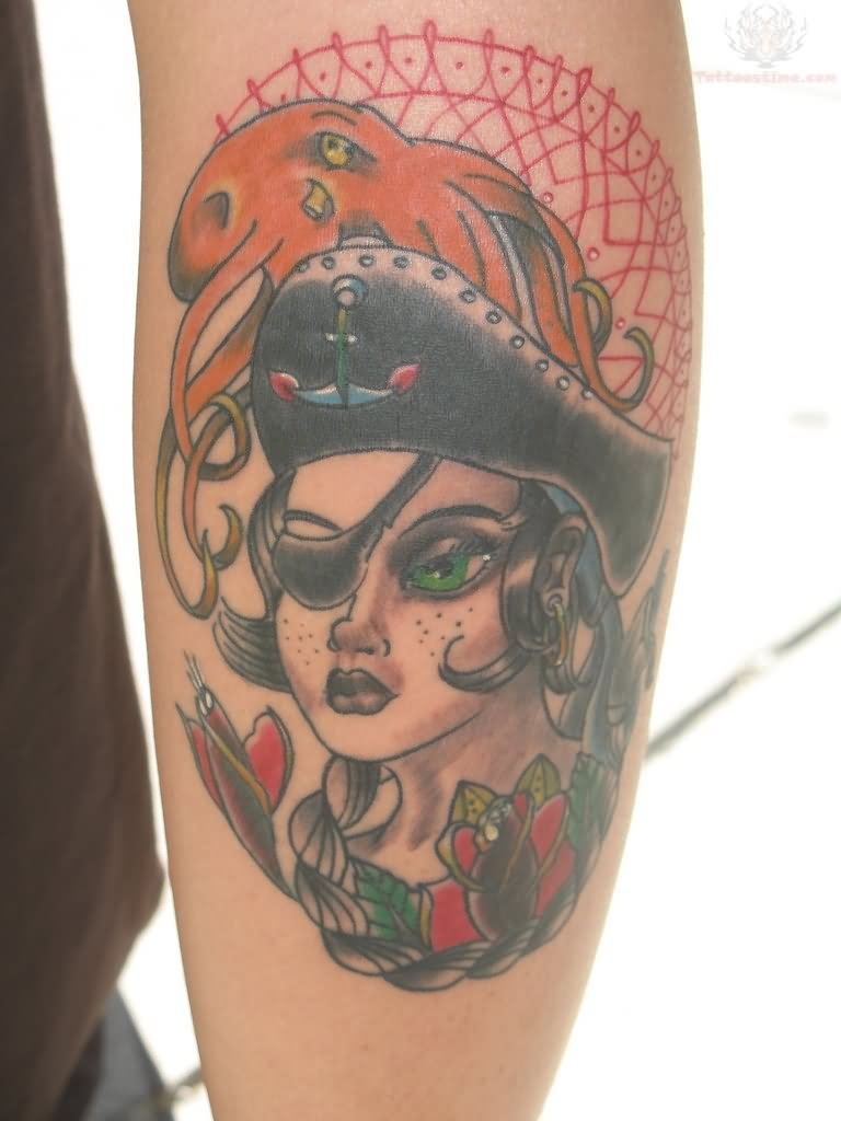 Pirate girl tattoo images designs for Girl head tattoo