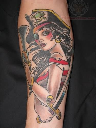 Pirate Girl With Sword Tattoo On Sleeve - photo#5
