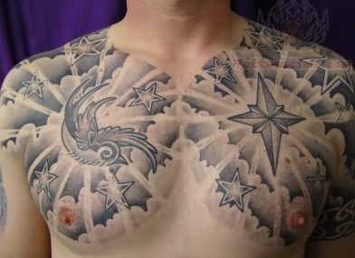 black and grey compass cloud tattoo on chest. Black Bedroom Furniture Sets. Home Design Ideas