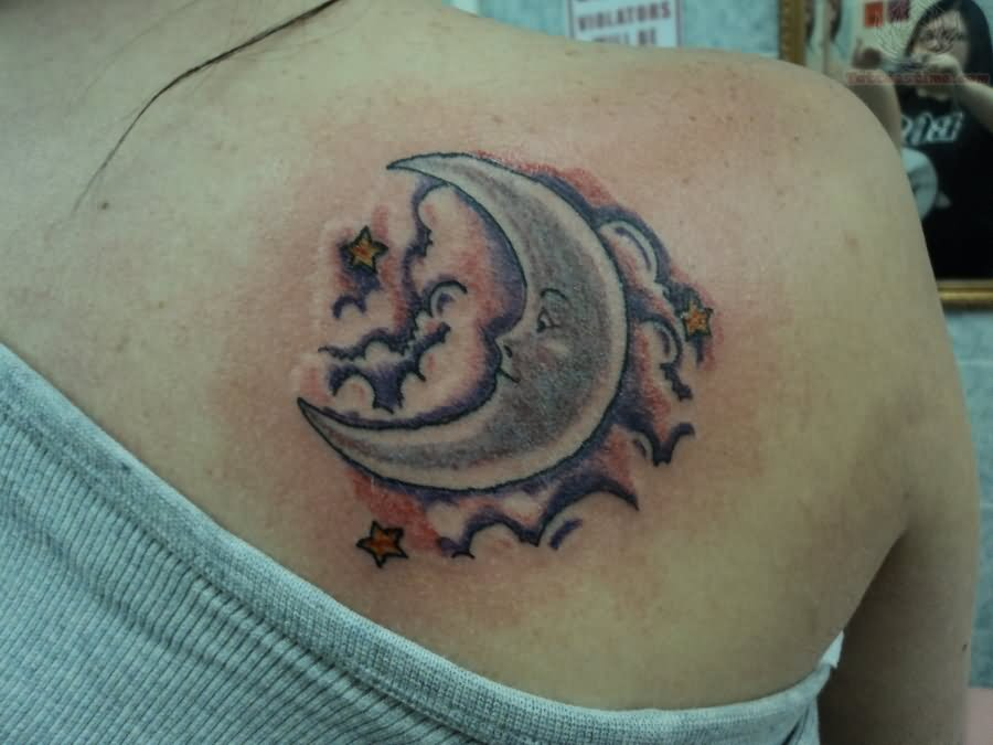Moon And Cloud Tattoo Small: Moon In Clouds Tattoo On Back Shoulder