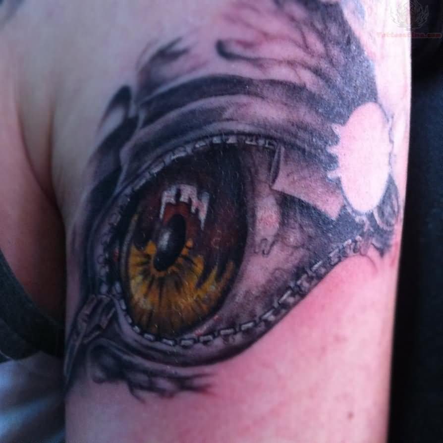 Zip Puller Tattoo On Shoulder