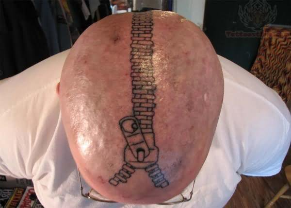 Zipper Tattoo On Men Head