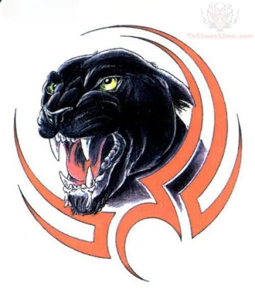Tribal And Puma Head Tattoo Design