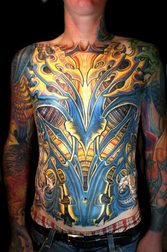 Extreme Yellow And Blue Tattoo