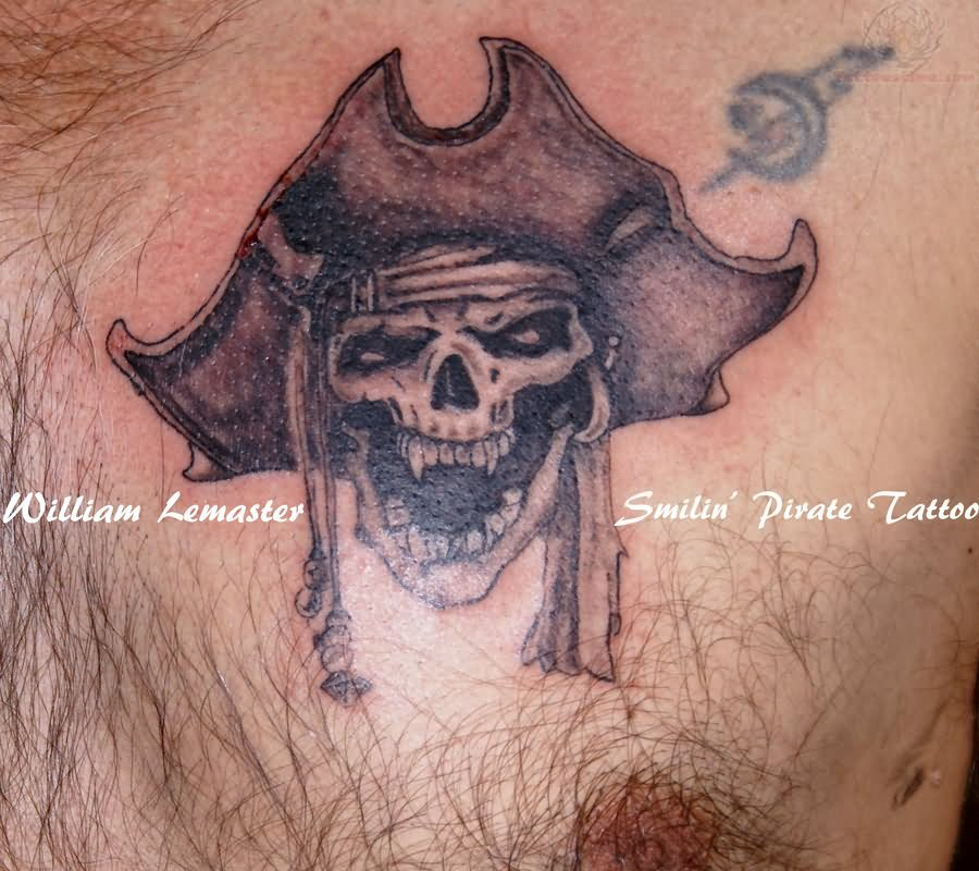 New school pirate skull tattoo - photo#2