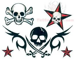 Pirate Skull And Nautical Star Tattoo Design