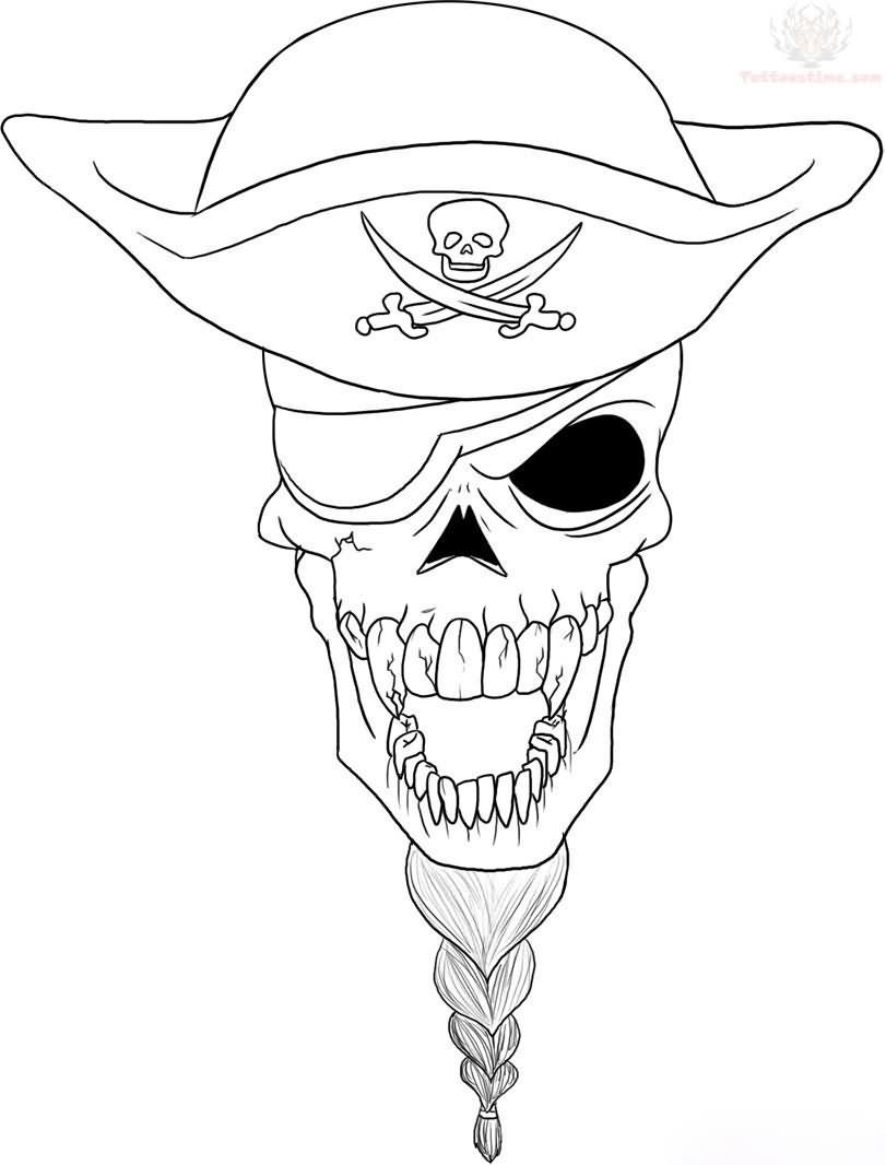 Pirate Skull Outline Tattoo Design