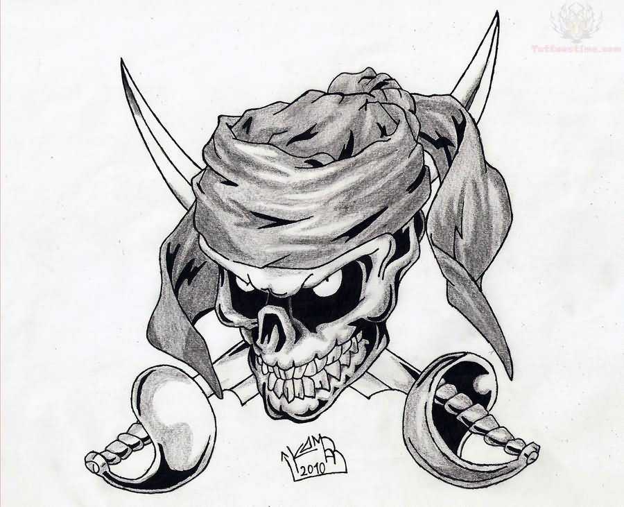 Pirate skull tattoos designs letters