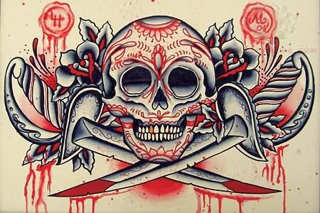 Traditional skull tattoo design