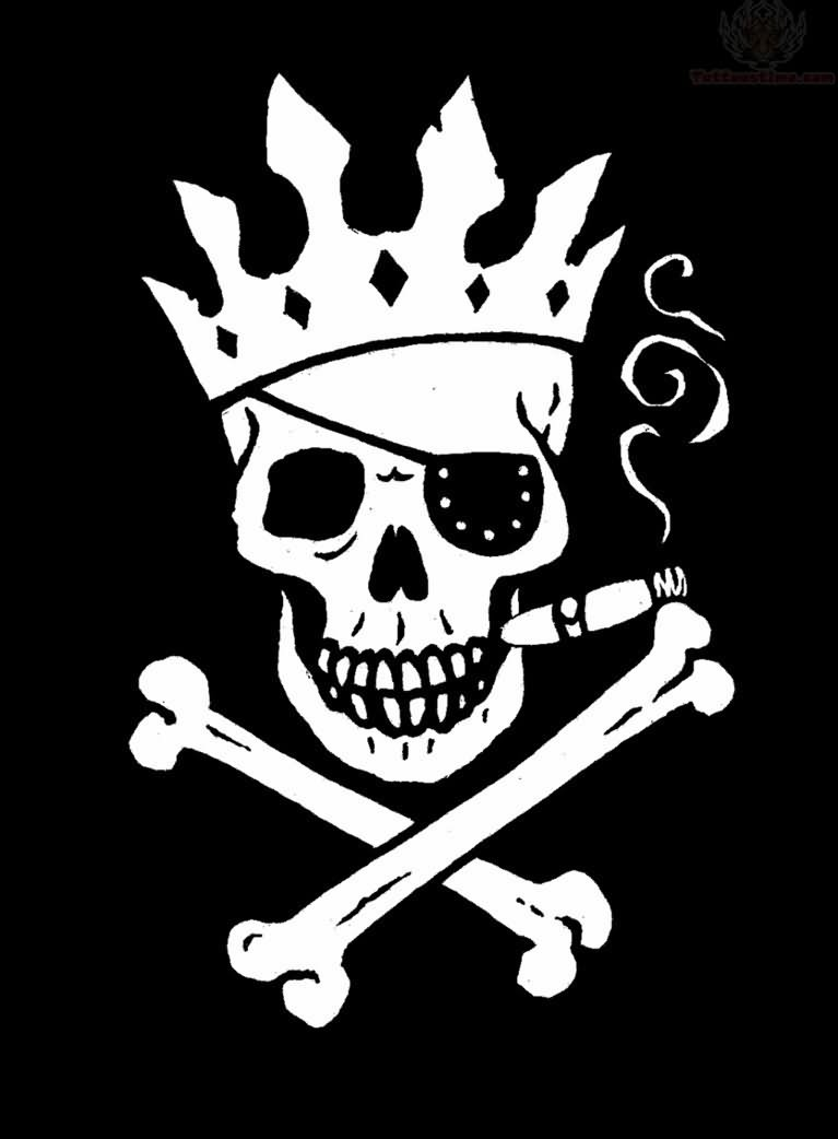 Crown Smoking Jolly Roger Tattoo Design African Lion Footprints