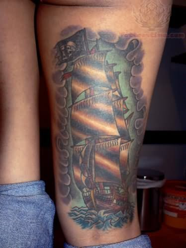 Jolly Roger Ship Tattoo Images & Designs