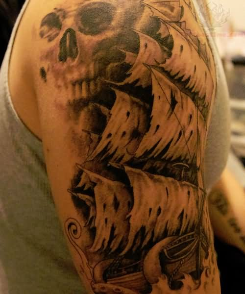 awesome pirate ship tattoo on half sleeve. Black Bedroom Furniture Sets. Home Design Ideas