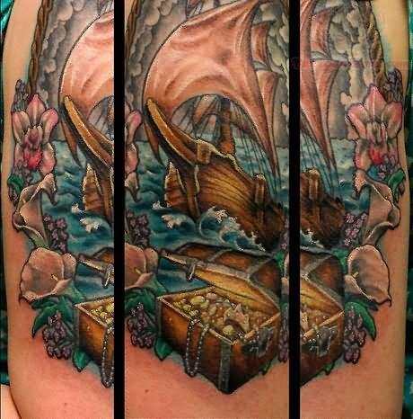 Underwater Ship Tattoo Flower And Pirate Ship Tattoo