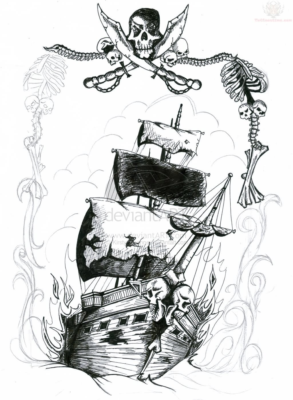 Pirate Ship Tattoo Images Amp Designs