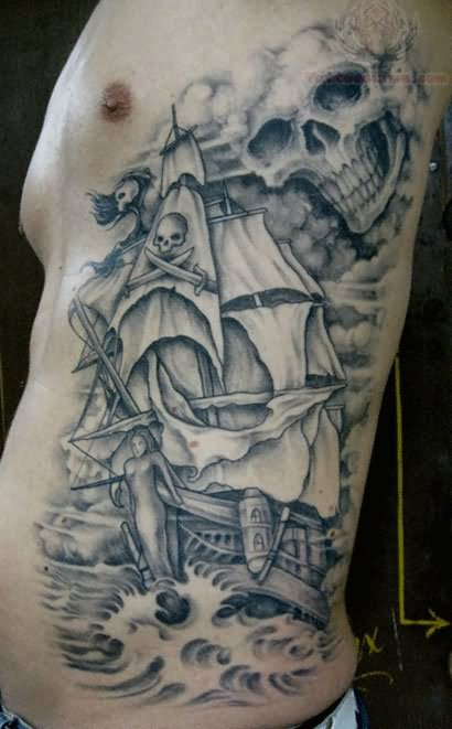 Grey ink side rib tattoo for men for Religious rib tattoos for guys
