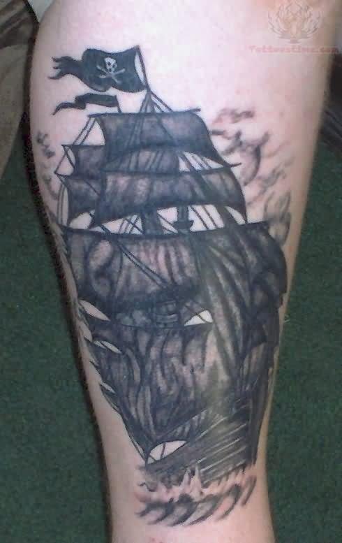 Torn pirate flag tattoo