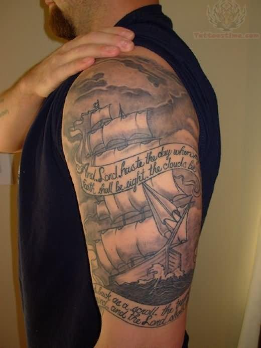 left half sleeve pirate ship tattoo for men. Black Bedroom Furniture Sets. Home Design Ideas