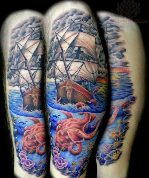Octopus pirate ship tattoo meaning