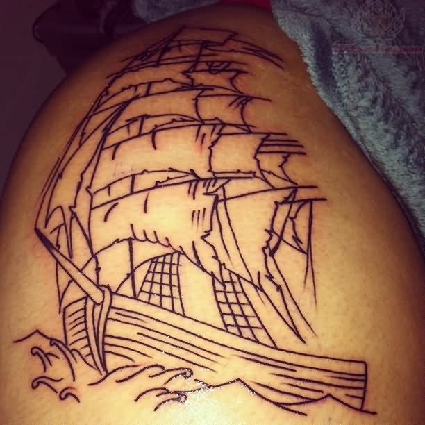 Pirate ship outline tattoo