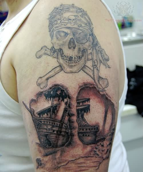 Pirate ship tattoo images designs for Skeleton pirate tattoo