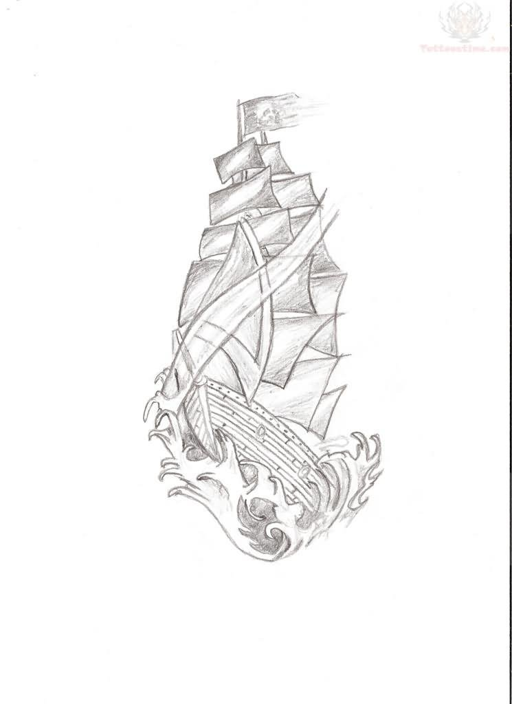 Ship Tattoo Sketch Pirate Ship Sketch Tattoo