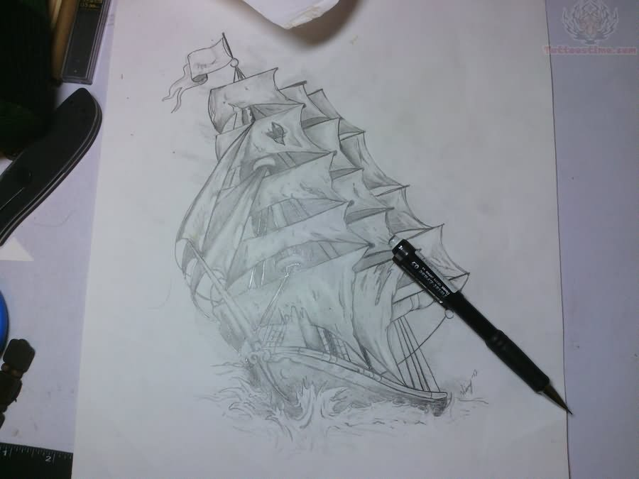 Pirate Ship Tattoo Design Drawing