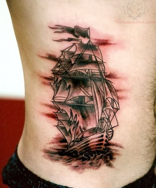 Pirate ship tattoo on men side rib for Men side tattoo
