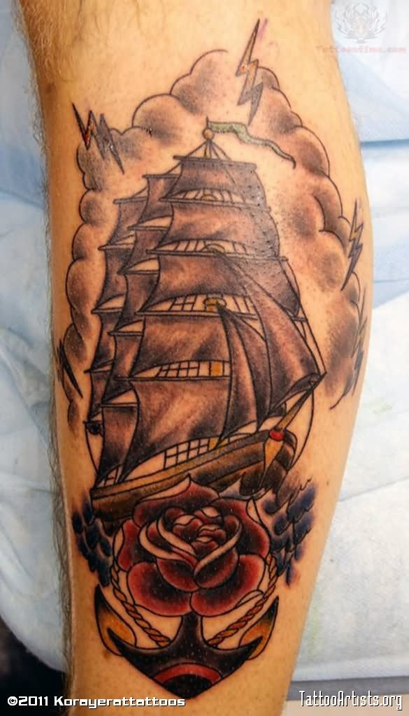 pirate ship tattoo images designs. Black Bedroom Furniture Sets. Home Design Ideas