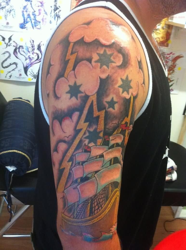 and pirate ship half sleeve