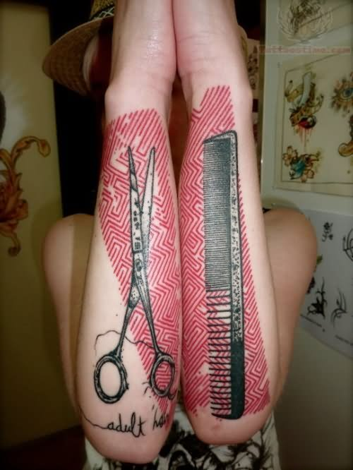 comb and scissor tattoos on arms. Black Bedroom Furniture Sets. Home Design Ideas